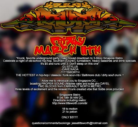 Krunk w/DJ Stylus, Fri 3/11/05