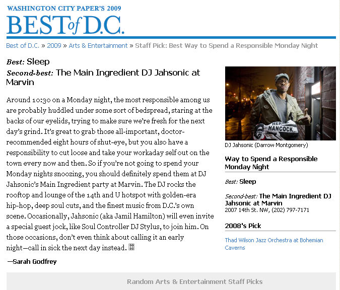 The Main Ingredient - Washington City Paper Best of D.C. 2009